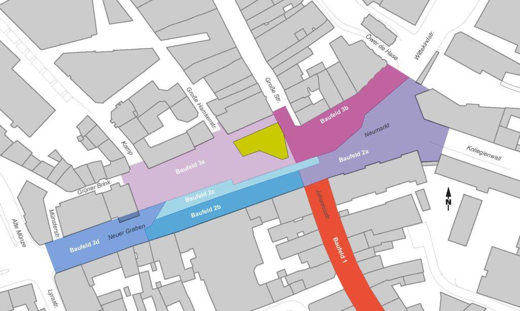 Ein Plan des Neumarkts und der direkten Umgebung, in der die vorgesehenen Baufelder in unterschiedlichen Farben markiert sind.
