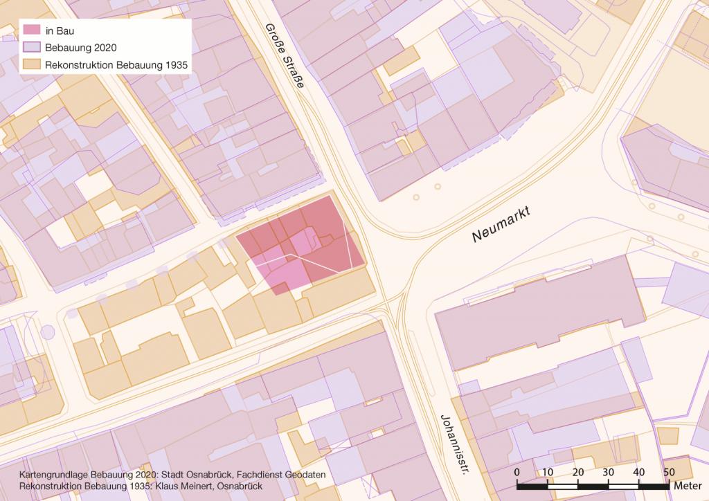 Verschneidung der Bebauungsstrukturen am Neumarkt 1935 und 2020. Quelle: Stadt Osnabrück/Klaus Meinert.